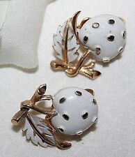 STUNNING SIGNED CROWN TRIFARI ENAMEL CHERRY CLIP ON EARRINGS-EXCELLENT!!!