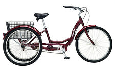 SCHWINN 26 Meridian 3-Wheel Trike Adult Comfort Cruiser Bike Bicycle NEW RED!