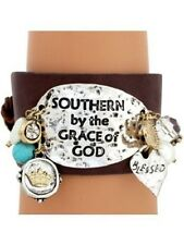 """Southern by the Grace of God"" Two Tone Leather Spoon Bracelet"