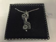 """Willys Jeep ref309 Pewter Effect Emblem on Silver Platinum Plated Necklace 18"""""""