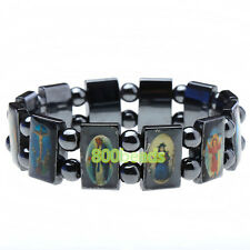 Natural Holy Jesus Portrait Magnetite Hematite Elastic Bracelet Bangle Wristband