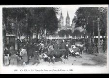 CAEN (14) FOIRE aux BOVINS , Marché trés animé début 1900