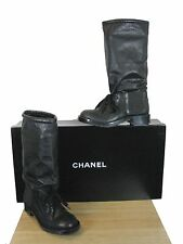 NIB Chanel Runway CC Logo Leather Sock Combat Lace Up  Boots Shoes 38.5