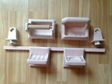 Vintage Pink Ceramic Soap Dish, etc Bathroom Fixture Set High Gloss  60s