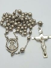 Vintage 60s Sterling Silver 925 Bead Cross Rosary necklace