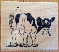 Cow in Field Wood Mounted Rubber Stamp Embossing Arts