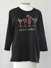 ESCARGOT Wine Glasses 3/4  Sleeve Black Beaded GROUP THERAPY Shirt Top Sz L