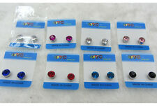 Lot of 10 Fashion Jewelry Color Crystal Magnetic Stud Earrings Girls Women Men