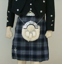 Scottish | Hamilton Gray Tartan Heavy Kilt & Kilt Pin | Geoffrey