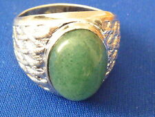 Vintage  Sterling silver Cabochon cut natural mined 16.5mm jade ring sz 11 man's