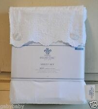 Rachel Ashwell Simply Shabby Chic Woodrose Hem Embroidered Lace QUEEN Sheet Set