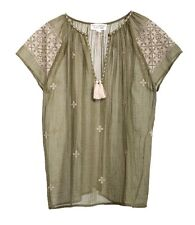 Nili Lotan Embroidered Ruched Short Sleeve Top in Army Green Size XS