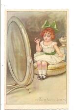 Illustratori  :  E. COLOMBO  -  Bambina allo specchio per trucco