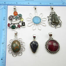 Collectible Stylish Xmas Gift, 925 Silver Plated 6 Pc Pendants LOT Free Shipping