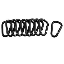 10 Pcs Black D Shaped Aluminum Alloy Carabiner Hook Keychain CP