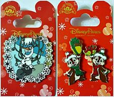 CHRISTMAS Chip & Dale + Olaf w/Sven Frozen lot of 2 Disney Park Pins - NEW