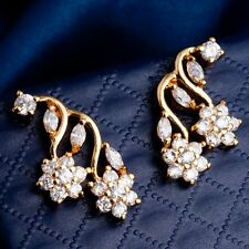 Gift Package White Round Marquise Cubic Zircon Gold Plated Flower Drop Earrings