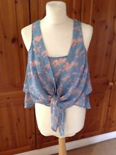 "FANTASTIC HOUSE OF DEREON BLUE & PINK CHIFFON SLEEVELESS TOP UK SIZE M(34"") BNWT"