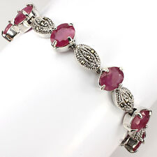 Sterling Silver 925 Genuine Natural Pink Ruby and Marcasite Bracelet 7.5 Inch
