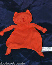 Peluche Doudou Chat Plat HAPPY HORSE Orange Etat NEUF