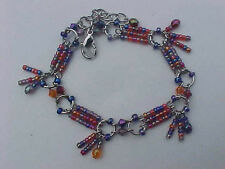 "Glass Bead Bracelet Fringe Silver Multi Color Adjusts 7"" to 8-1/4"""