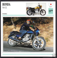 1977 Honda 500cc CX (496cc) Japan Bike Motorcycle Photo Spec Sheet Info Card