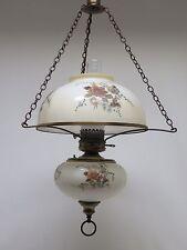 Vintage Hanging Swag Lamp Light Flower Design Glass Shade & Font