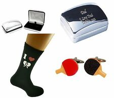TABLE TENNIS Socks & Cufflinks Engraved Chrome Box Personalised (Xmas Christmas)