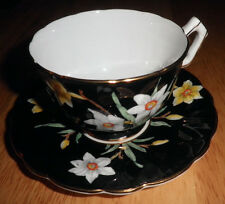 AYNSLEY BONE CHINA FOOTED TEA CUP & SAUCER SET BLACK & JONIQUIL FLORAL  ENGLAND