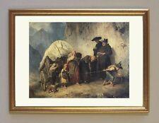 Die Karrenzieher 1872 von Mathias Schmid K&K 2 Büttenfaksimile im Goldrahmen