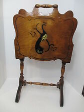 VTG Antique Tall Hand-Crafted Wood Hand Painted Magazine Music Rack Stand Wooden