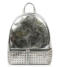 New! Vieta® Solid Metallic, Square Stud, Triple Compartment Backpack- Silver