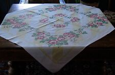 Vintage Tablecloth Yellow & red Roses All Cotton WELL USED & LOVED Craft Cutter