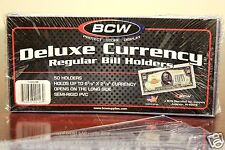 50x REGULAR BCW DELUXE CURRENCY SLEEVE BILL NOTE HOLDER PAPER MONEY SEMI RIGID