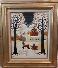 Vintage quality mystery naive folk art signed oil painting on canvas illegible