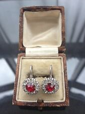 Vintage 1930's Art Deco Diamond & Ruby Paste Sterling Silver Screw Back Earrings