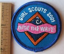 """Girl Scout 2010 COOKIE SALES PATCH """"Ride The Wave"""" Surfing Selling Badge NEW"""