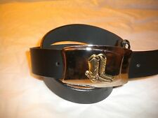 NEW MEN  METAL COWBOY WESTERN  BELT BUCKLE WITH BOOTS SNAP LEATHER BELT S-M-LXL