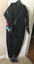 New Bare Trilam Tech Dry Front Zip Drysuit Men's XL Diving Black Item 011126