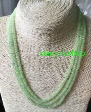 FINE NATURAL 3 Rows 2X4mm FACETED Prehnite GEMSTONE BEADS NECKLACE