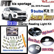 9 Bulbs Xenon White Lamps LED Interior Light Kit For Kia Sportage (QL 2016-2017)