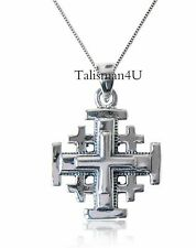Blessed Jerusalem Cross 3D Pendant Necklace Sterling Silver Jewelry+ Certificate