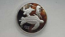 1993 British Virgin Islands $25 Leatherback Turtle Silver Proof coin