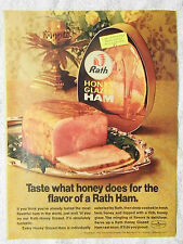 1970 Magazine Advertisement Page For Rath Honey Glazed Canned Ham Platter Ad