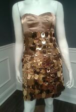 E9 Express size 2 gold strapless cocktail dress sequin new years eve SISLOU