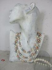 Muy larga collar de perlas & pulsera perlas individualmente anudados 100% verdadera colores 164cm