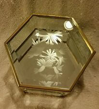 Vtg. Trinket Box Mirrored Brass and Glass Hexagon Hummingbird and Flower Etched