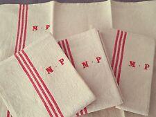 4 Anciens torchons en lin liteau rouge monogramme NP Réf  12419