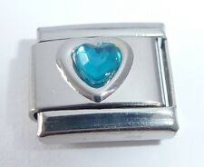 BLUE / TURQUOISE HEART GEM Italian Charm - Love December Birthstone 9mm Classic