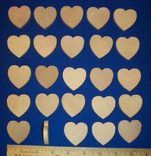 """25 Wood Hearts 1-1/2"""" x 1/4"""" Natural Unfinished Hardwood Cutouts Wooden Crafts"""